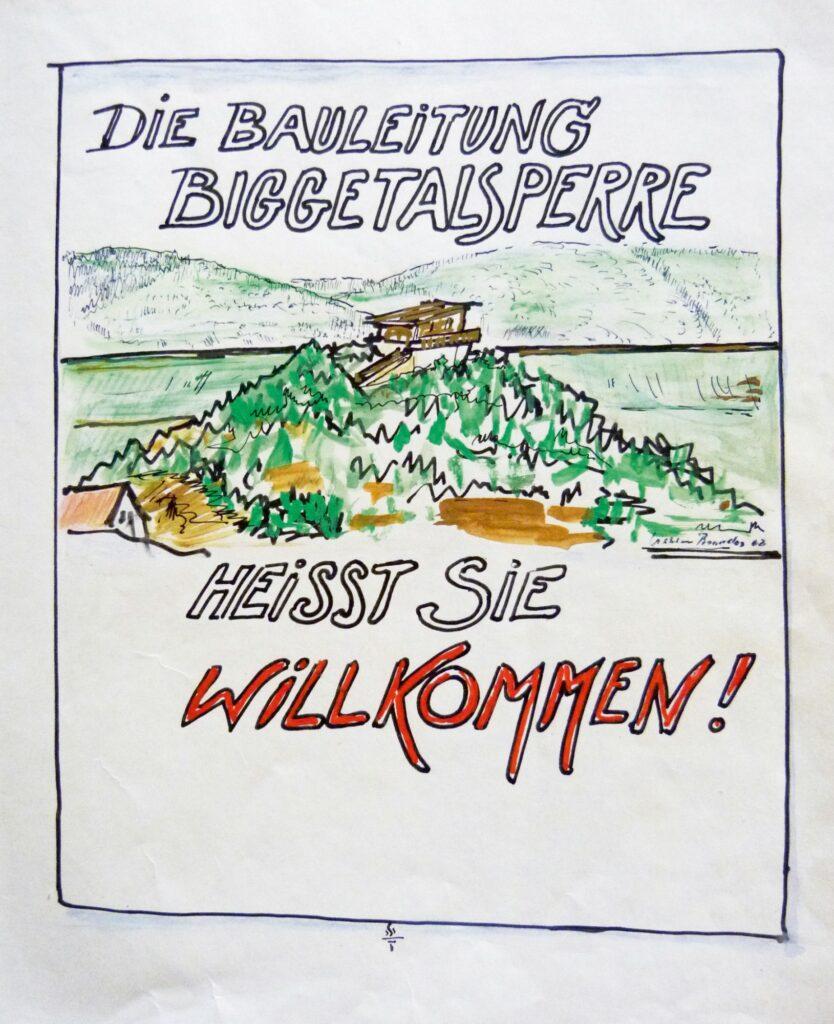 Heute kaum mehr vorstellbar für ein Vorzeigeprojekt wie den Biggesee-Bau. Aber damals schrieb und zeichnete man eben noch mit der Hand.