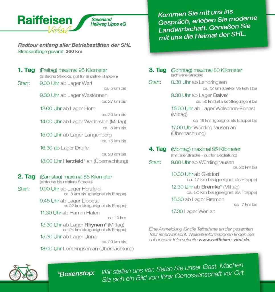 Raiffeisen Vital Radtour 2016 - vom 20. bis 23. Mai.