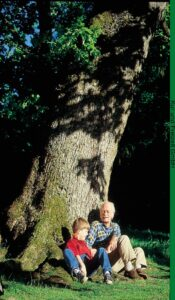 Opa mit Enkel als Zeichen der Nachhaltigkeit