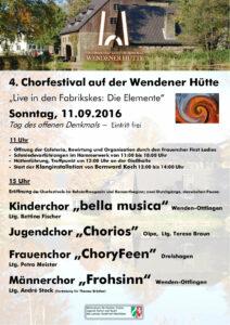 Plakat Chorfestival 2016 - Wendener Huette 2016