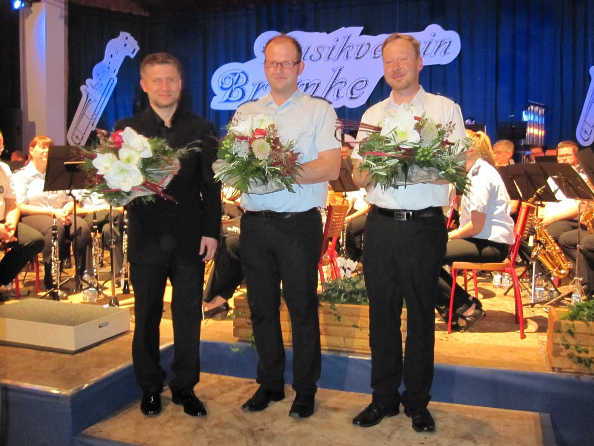 Dirigenten v.l.n.r.: Mathias Pfläging, Markus Brüggemann (Heggen), Uwe Becker (Bremke).