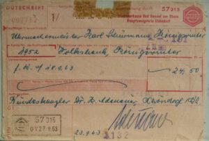 Zahlungsquittung mit der Unterschrift von Adenauer