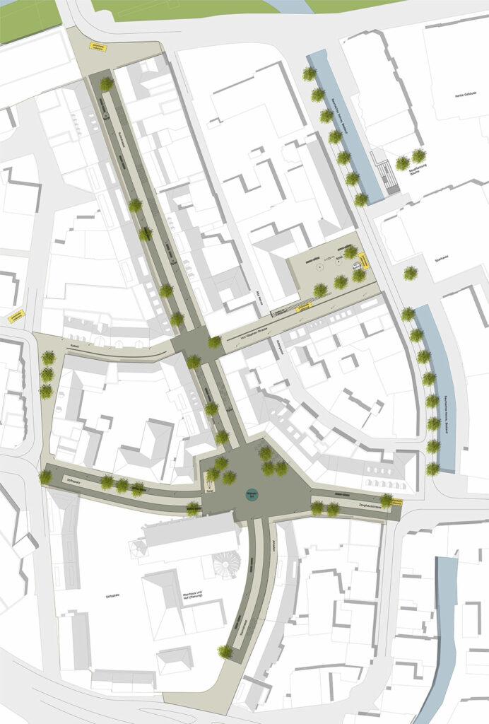 Der Rahmenplan für die Fußgängerzone verdeutlicht die Gliederung in zentrale Bewegungszonen und seitliche Aufenthaltsbereiche. Grafik: Stadt Meschede