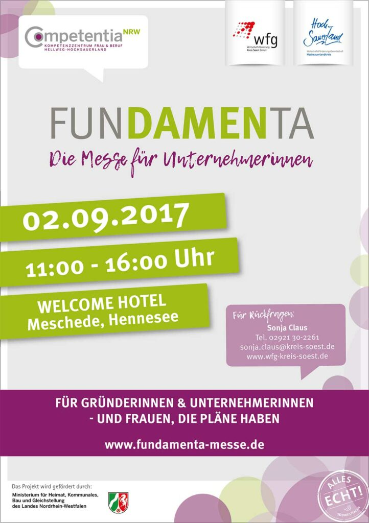 Plakat der Messe funDAMENta in Meschede am 2. September 2017 im Welcome Hotel Meschede.