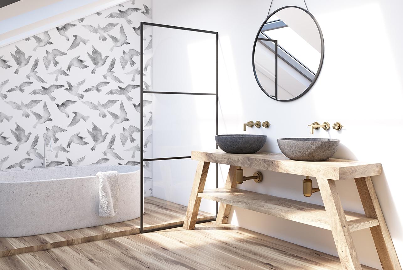 Fototapete Vögel im Badezimmer - WOLL-Magazin Sauerland