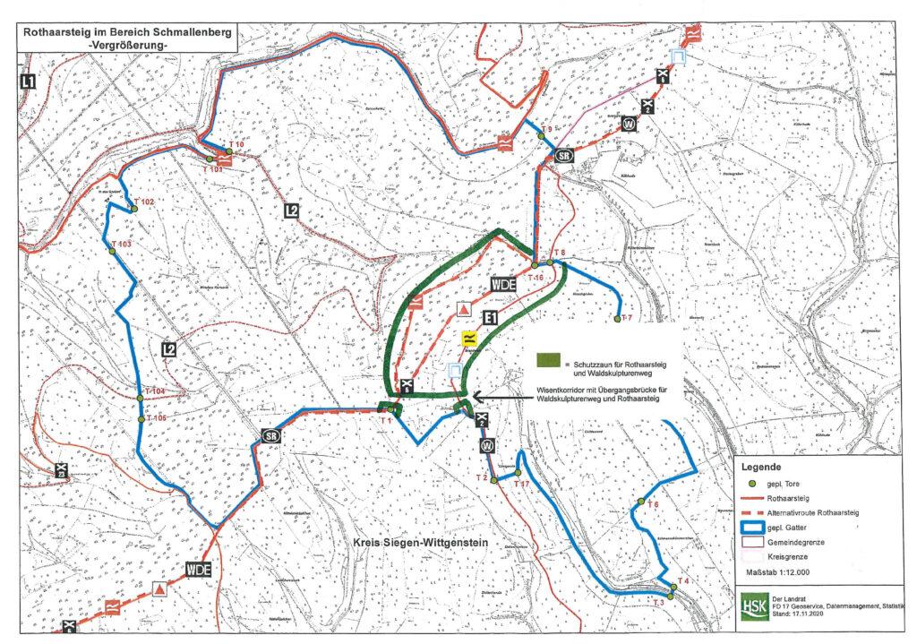 """Kartenausschnitt des Plangebietes mit dem Vorschlag einer """"Korridorlösung"""" für Wanderer, Biker und andere Wegenutzer."""
