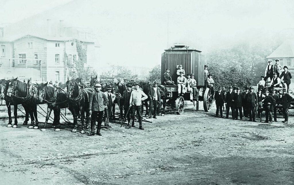 Trafotransport in Neheim, Anfang 1920er Jahre